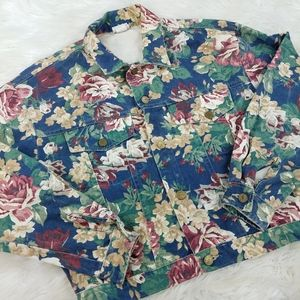 Vintage 90's Floral Rose Blue Jean Denim Jacket